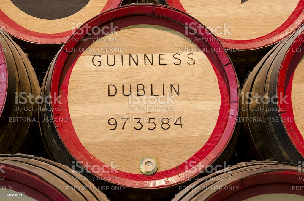 Guiness beer barrel in close up stock photo
