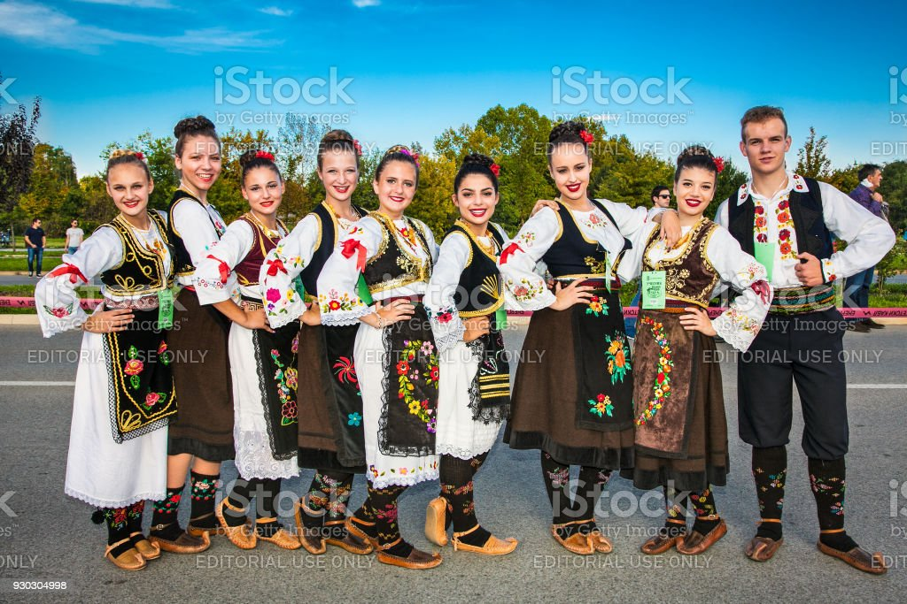 Guinness World Record Largest Folk Dance in Novi Sad, Serbia. stock photo