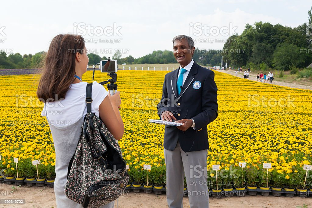 Guinness World Records representative gives interview stock photo