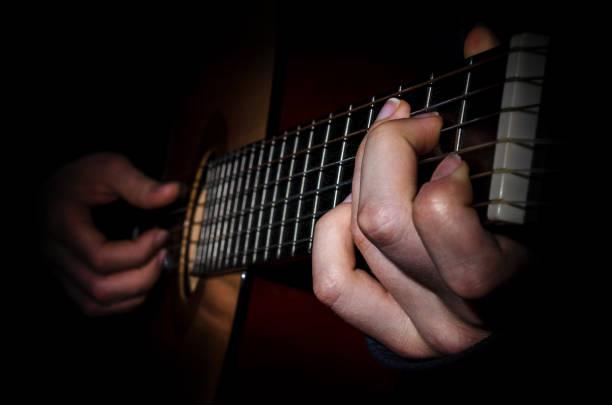guitar acoustics hand fingers stock photo