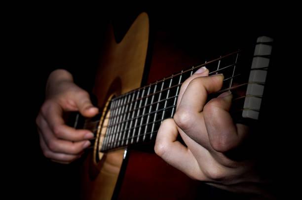 guitar acoustics low key stock photo
