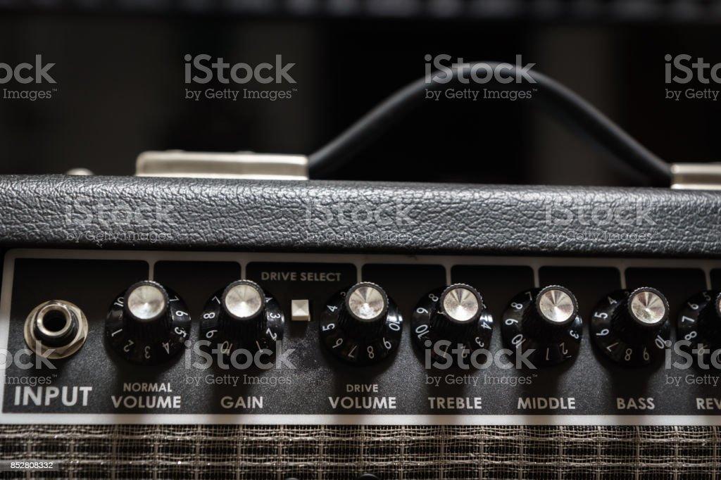guitar amp closeup stock photo