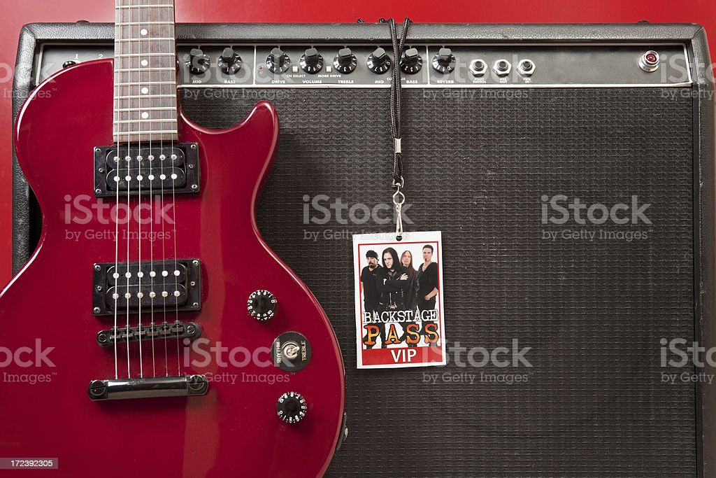 Guitar Amplifier and Backstage Pass stock photo
