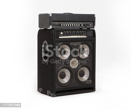 guitar amplifier and loudspeaker audio sound isolated on white background