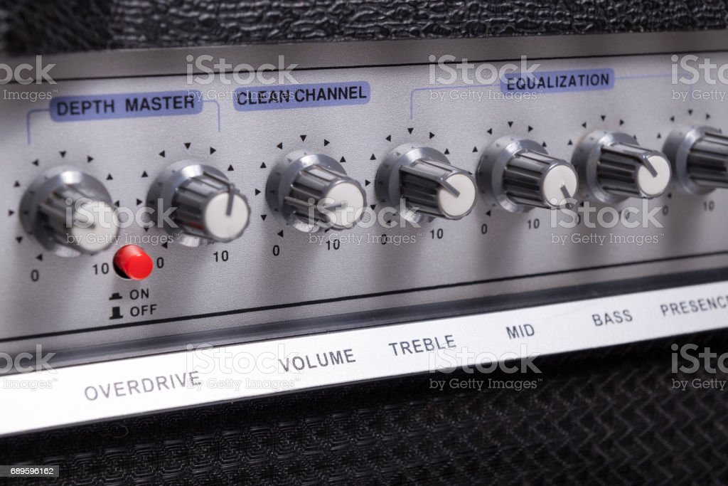 Guitar amplifier equalizer closeup view stock photo