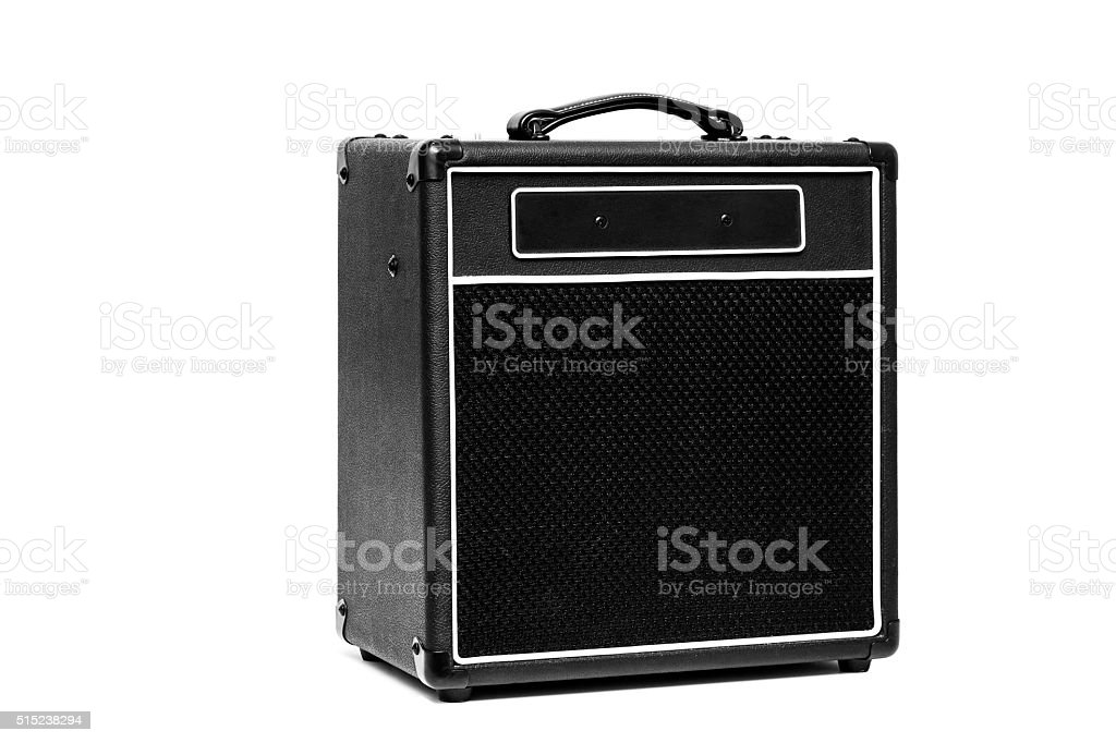 Guitar amplifier isolated on white stock photo