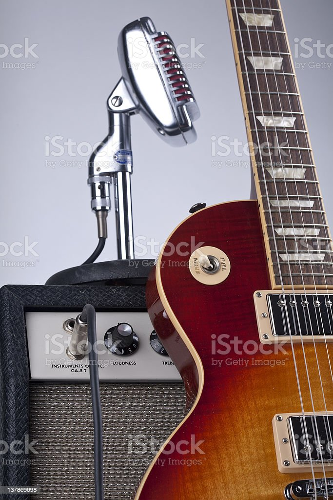 Guitar, Amplifier, Microphone royalty-free stock photo
