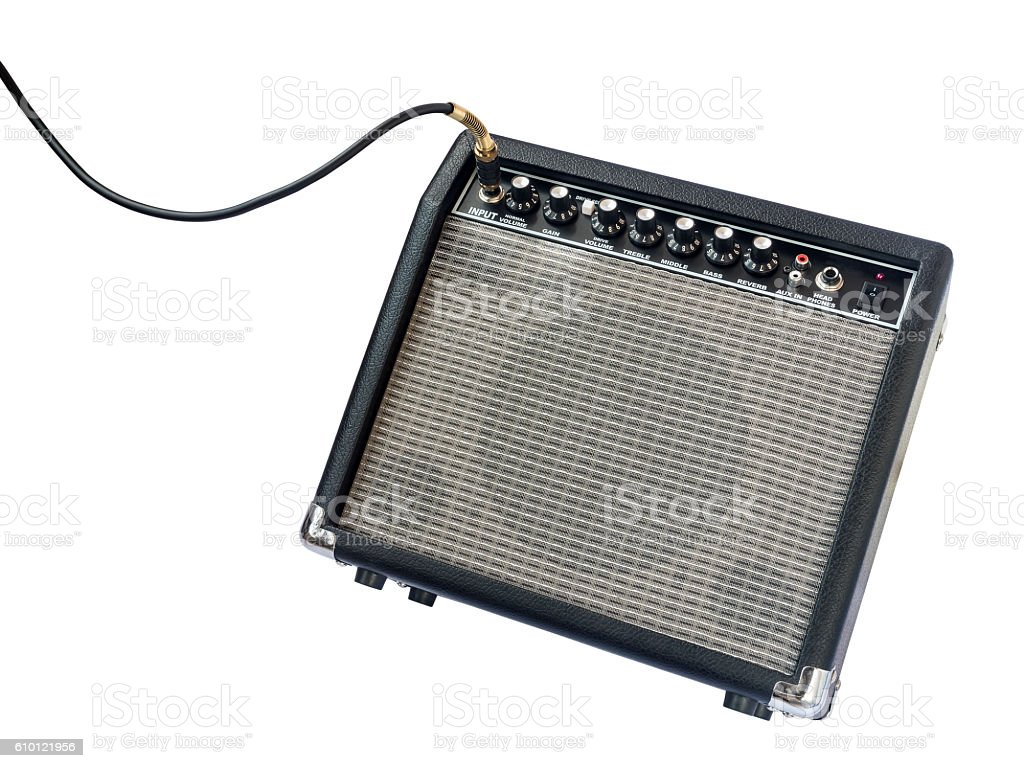 guitar amplifier with jack cable isolated on white background圖像檔