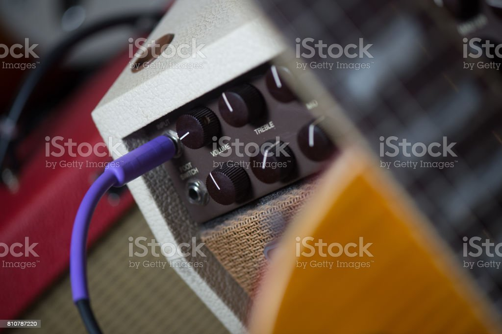 Guitar amplifier with jack cable stock photo
