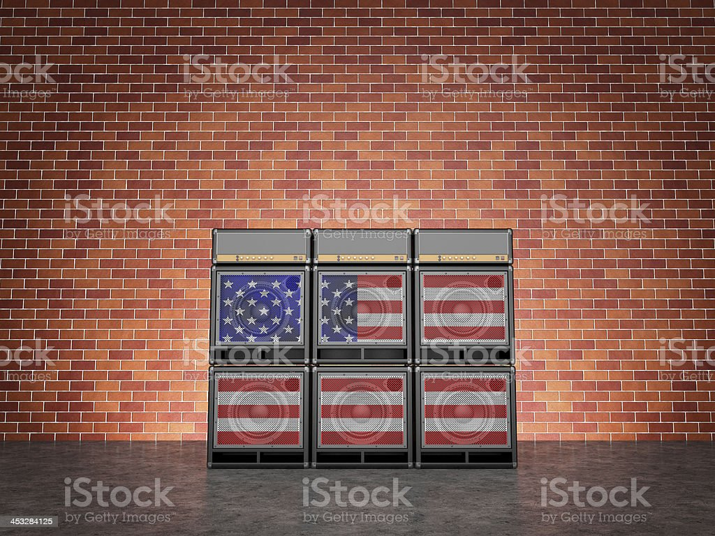 Guitar amps painted in American flag stock photo