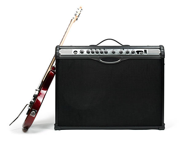 Guitar and amplifier stock photo