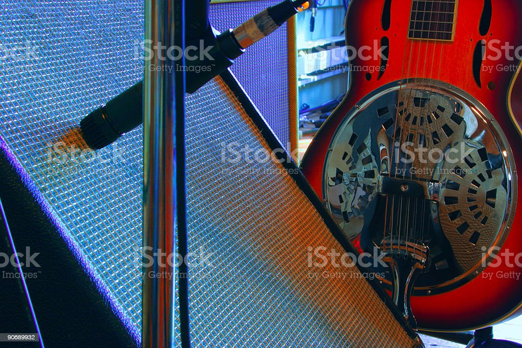 Guitar and Amplifier royalty-free stock photo
