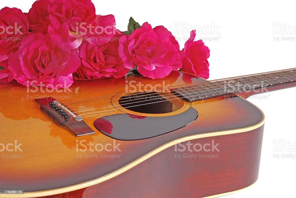 Guitar and Flowers stock photo