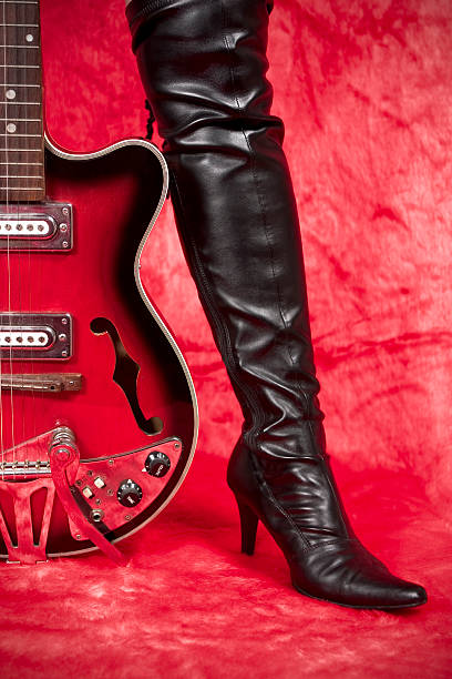 guitar and heels stock photo