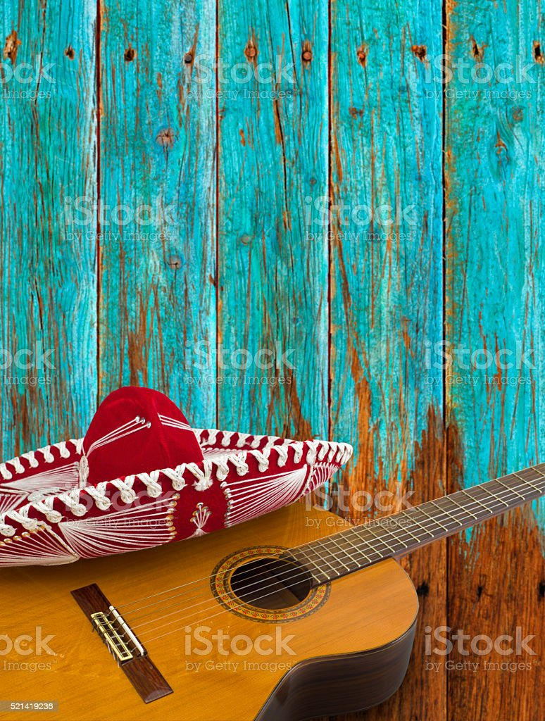 Guitar and Red Dress Sombrero stock photo