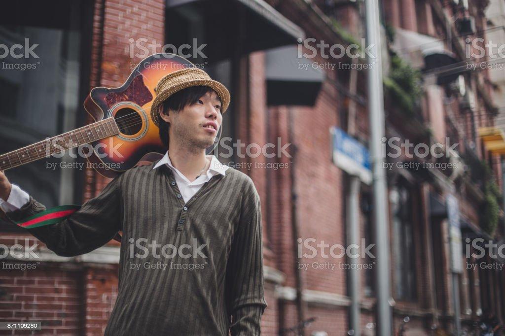 Guitar artist stock photo