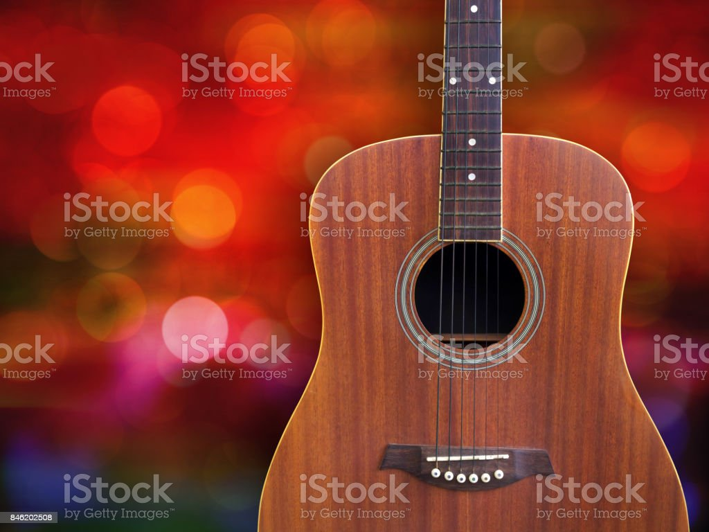 Acoustic guitar on beautiful background