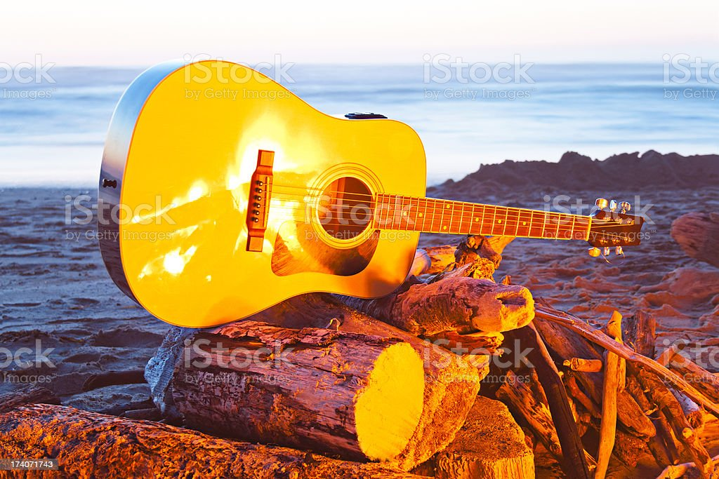 Guitar Beach Bonfire royalty-free stock photo