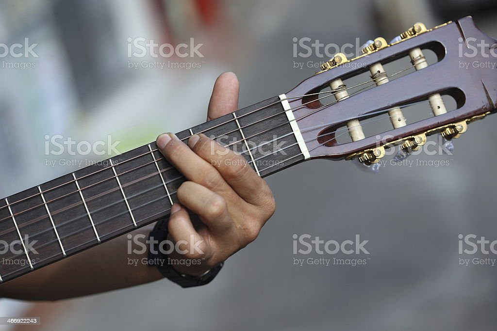 guitar chord played outdoors royalty-free stock photo