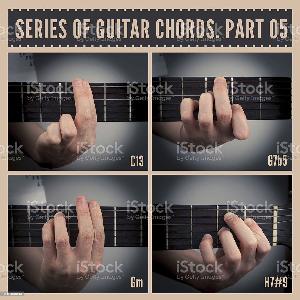 Guitar chords stock photo