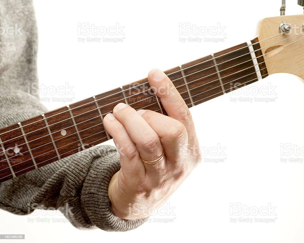 Guitar chords series, C minor ( movable bar chord) stock photo