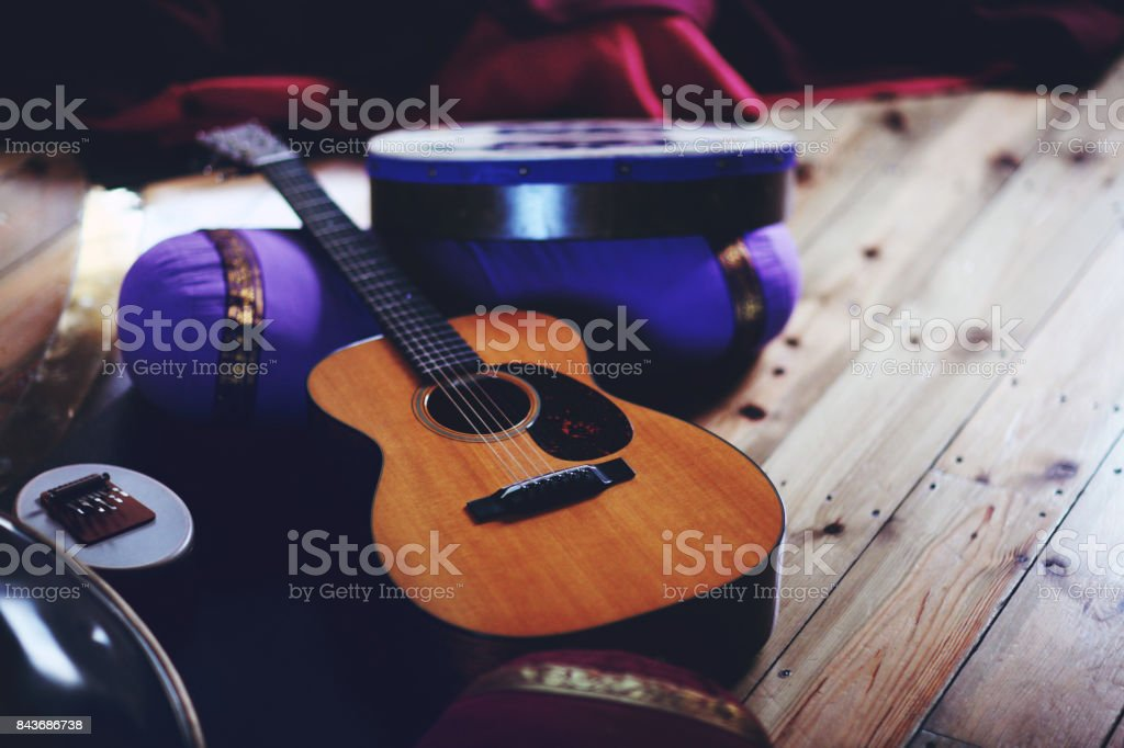 guitar, drum, sansula, hang and instruments for sound bath spiritual music stock photo