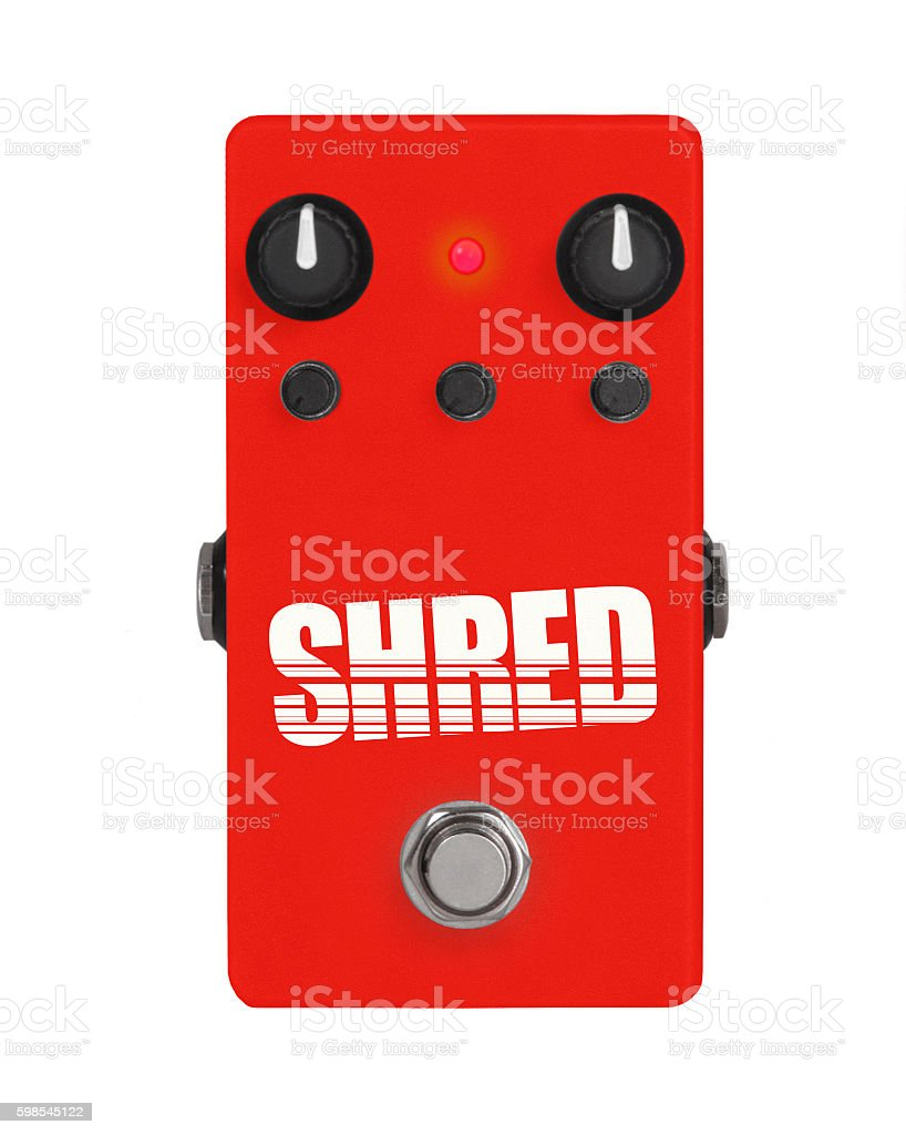 guitar effect pedal on white - Shred photo libre de droits