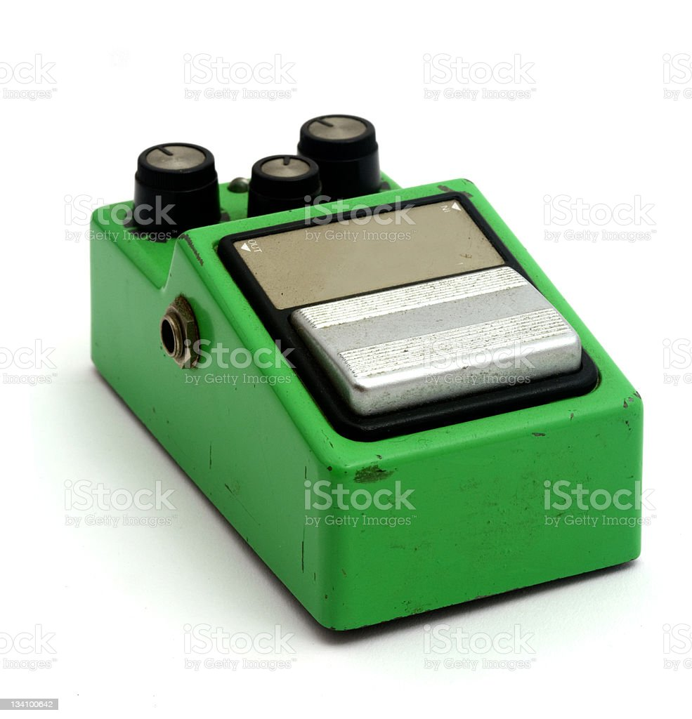 Guitar effects pedal stock photo