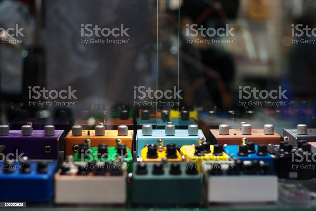 Guitar effects pedals stock photo