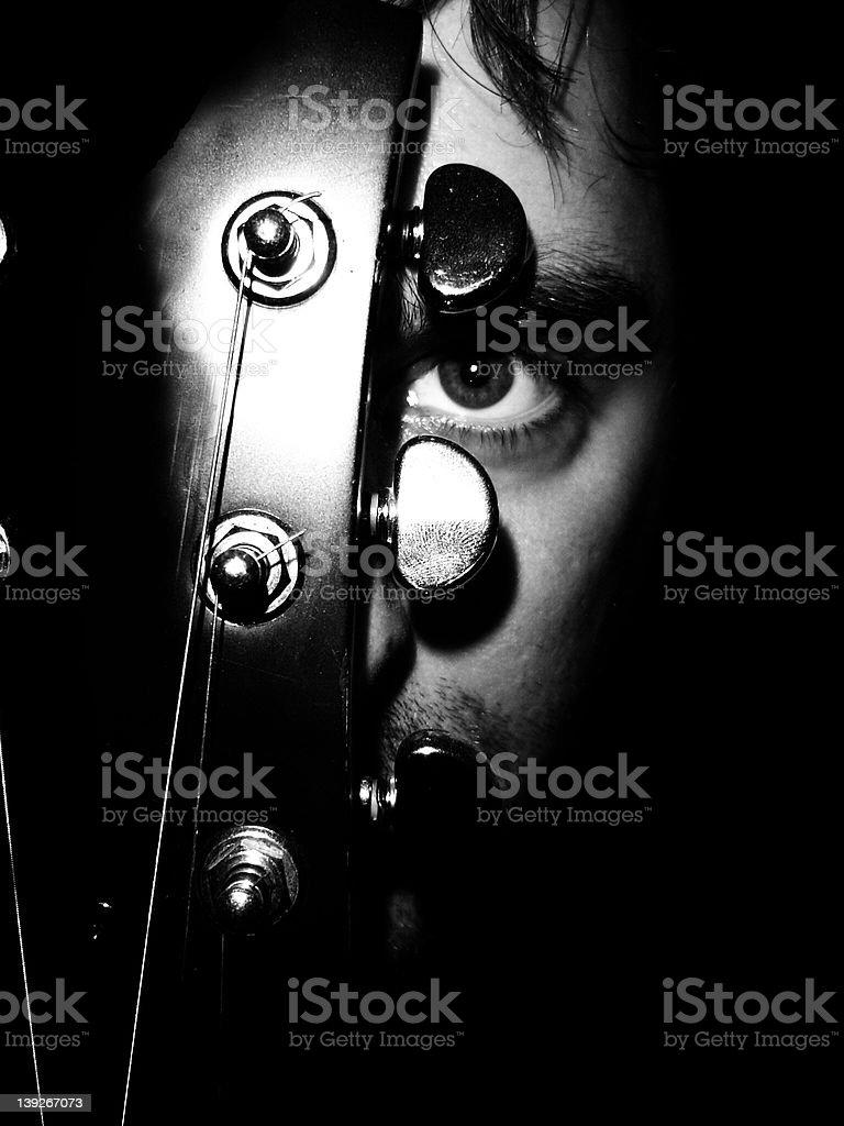 Guitar Face stock photo