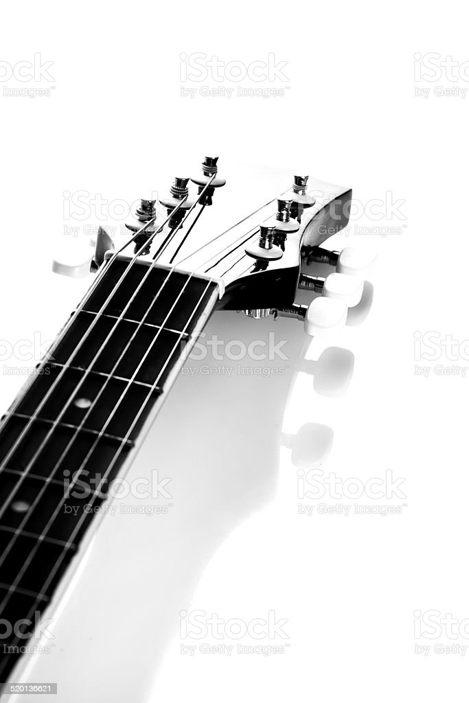 Guitar. Fretboard. Black-and-white image. stock photo