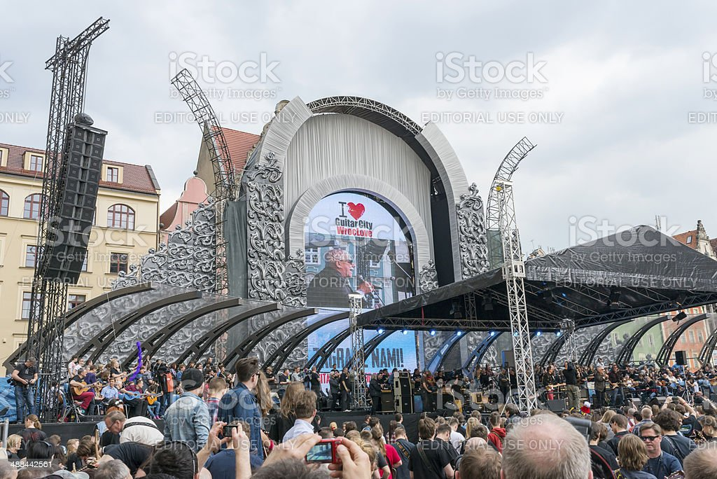 Guitar Guinness World Record event in Poland stock photo