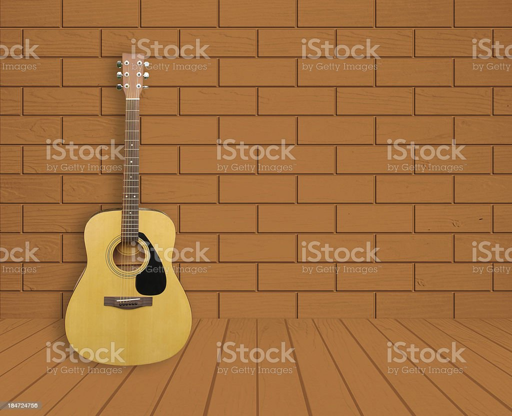 Guitar in room background royalty-free stock photo