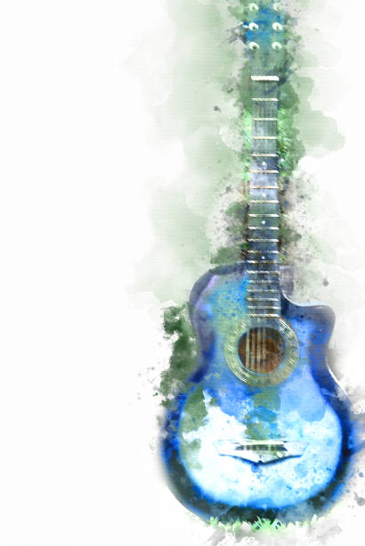 Guitar in the foreground on Watercolor painting background and Digital illustration brush to art. stock photo