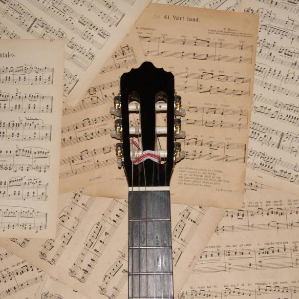 Gitarr halsen på notblad bildbanksfoto