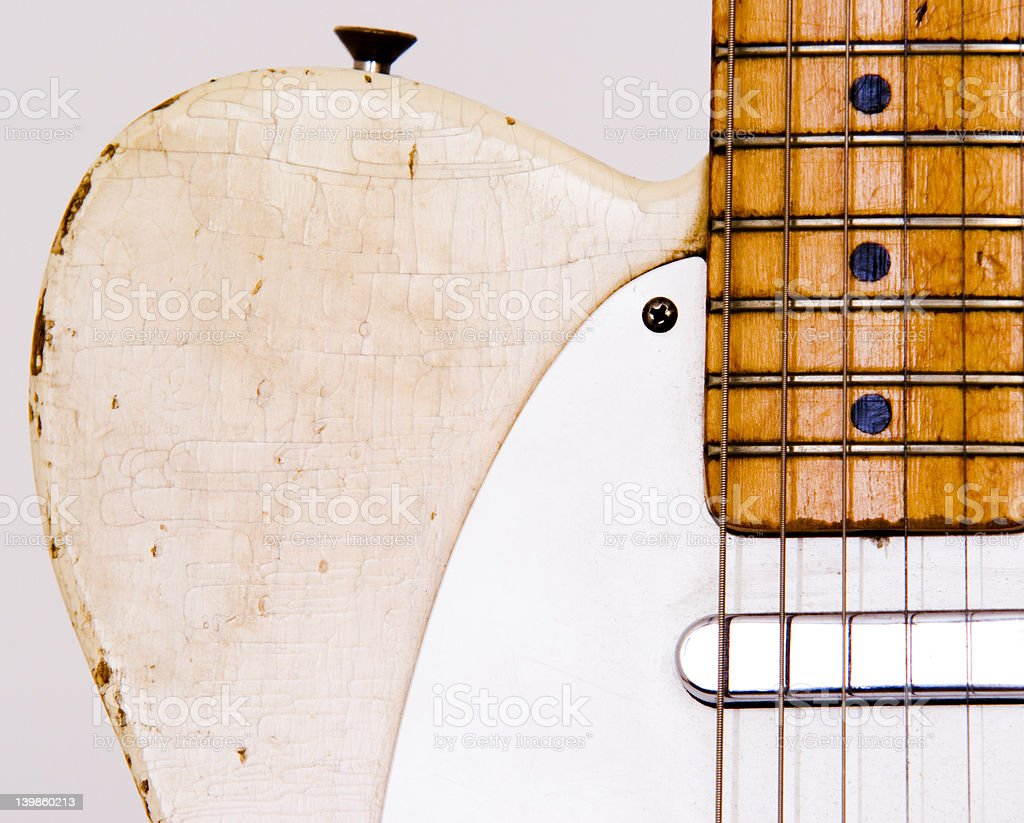 Guitar neck strings and body royalty-free stock photo