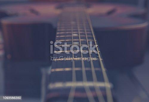 1014432572 istock photo Guitar neck, strings, frets. 1093586350