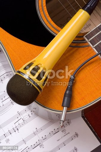 istock Guitar, Note and Microphone 89486124