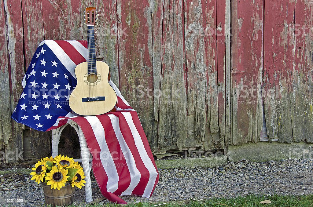 guitar on American flag stock photo