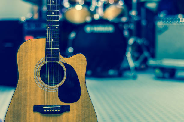 Guitar on music band background, musical concept stock photo