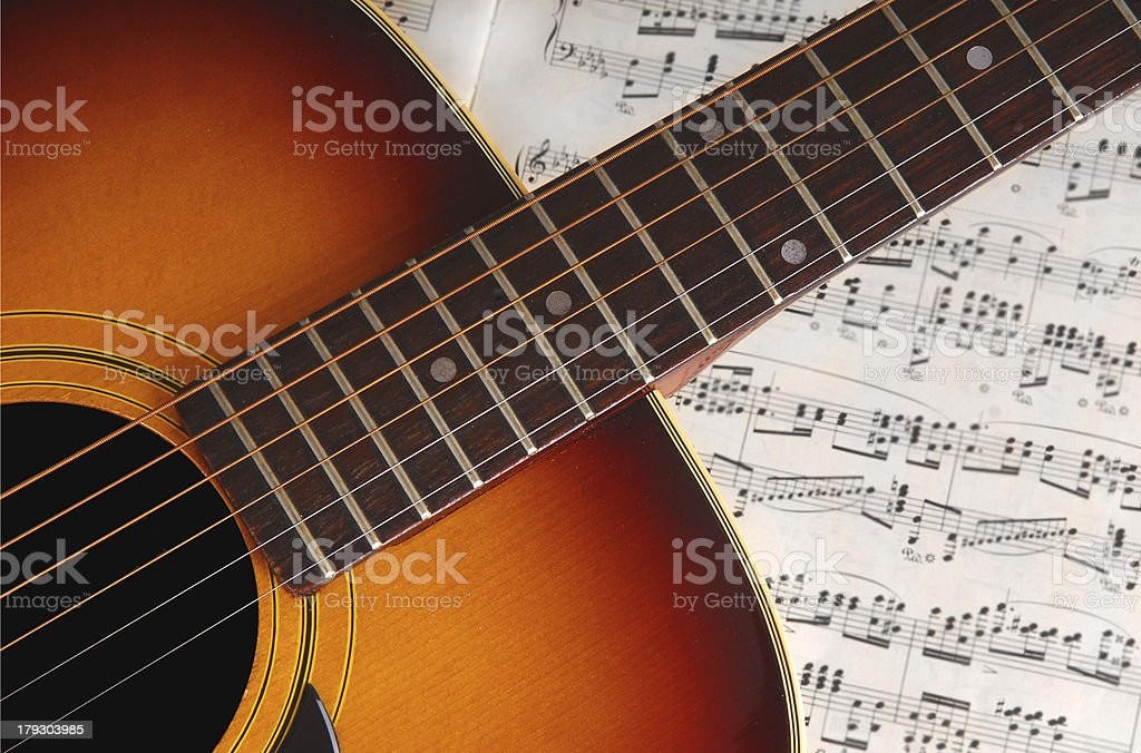 Guitar on Music stock photo