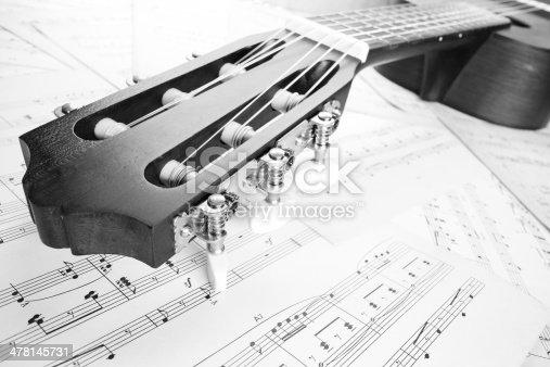 istock guitar on music sheet, headstock closeup 478145731