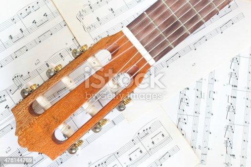 478117515 istock photo guitar on music sheet 478144769