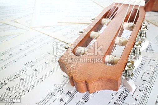 istock guitar on music sheet 478158569
