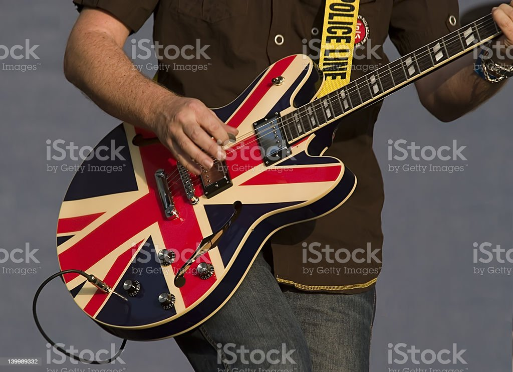 Guitar on stage stock photo