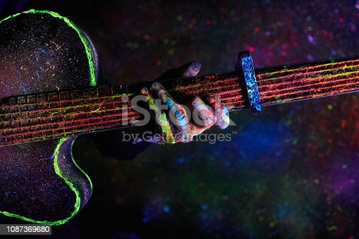 Christmas decoration. guitar painted with neon paint
