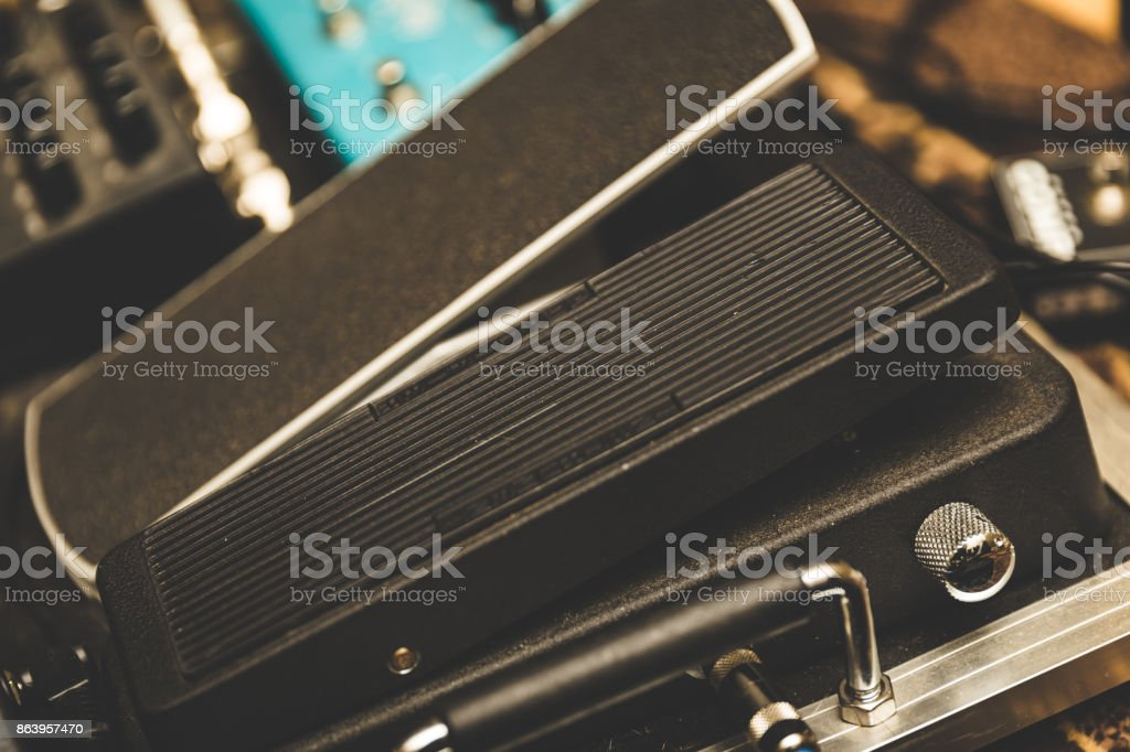 Guitar Pedals on Pedal Board stock photo