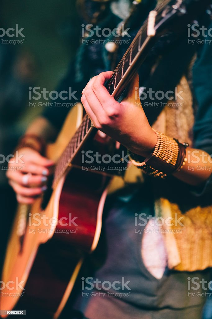 Guitar performance stock photo