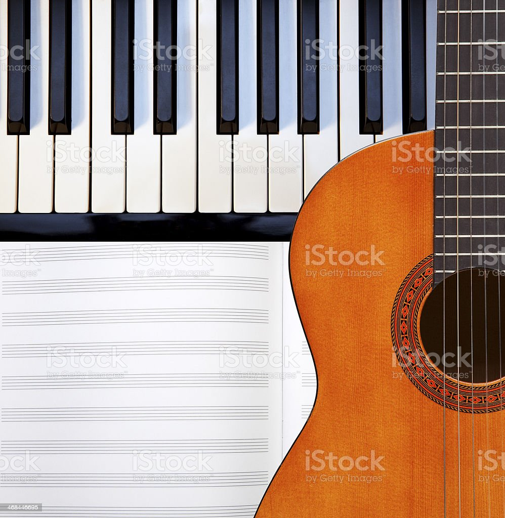 Guitar, piano and score. royalty-free stock photo