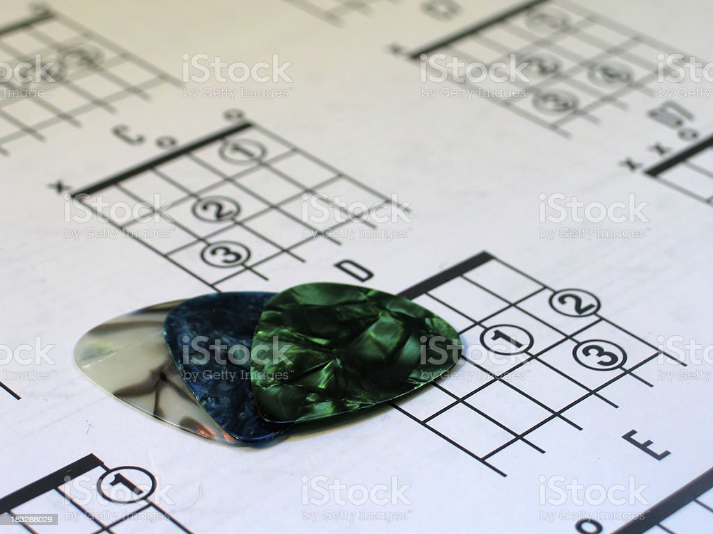 Guitar Picks and Chords stock photo